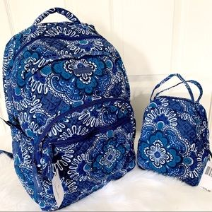 Vera Bradley essential backpack lunchbox blue set